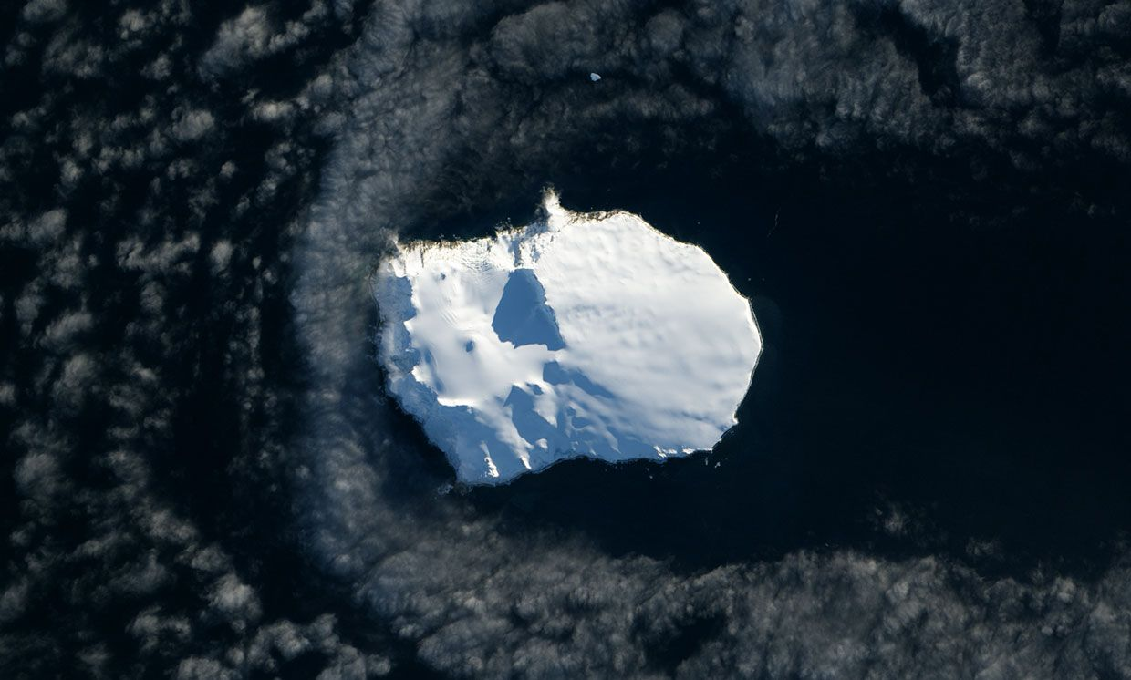2013 NASA Earth Observatory image showing Bouvet Island, and the ice that covers about 94 percent of the island year round.