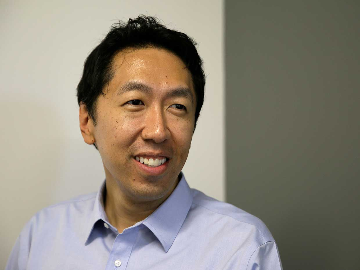 2017 photo of computer scientist Andrew Ng  at his office in Palo Alto, Calif.