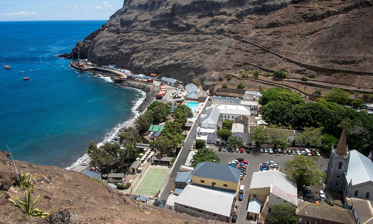 2018 aerial photo showing the St. Helena seafront and port.
