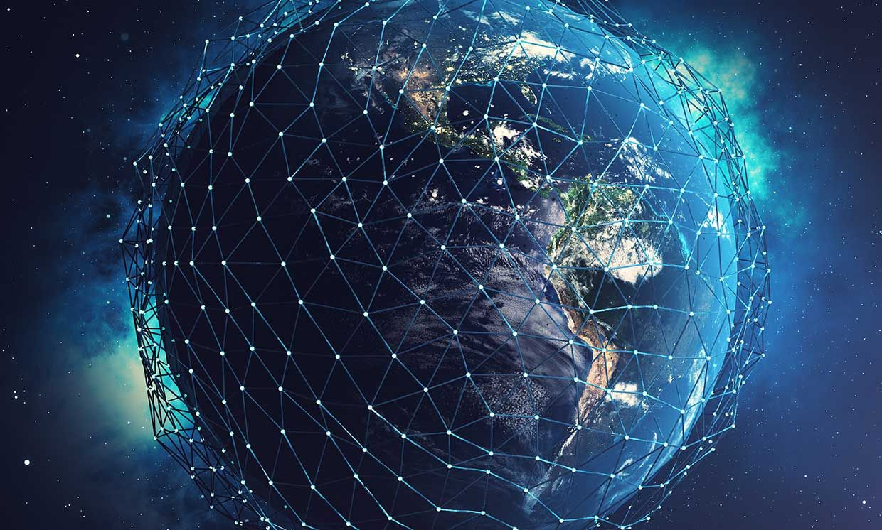 3D rendering Network and data exchange over planet earth in space.