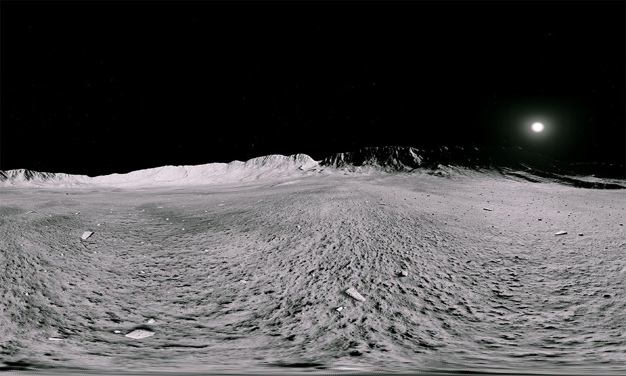 A 360-degree panoramic view of the lunar surface taken from within a moon simulation program.