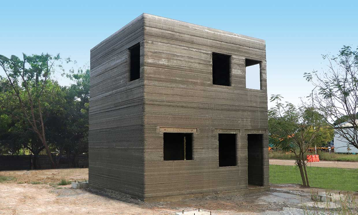 A 3D-printed model residential building at a test facility in Kanchipuram, India