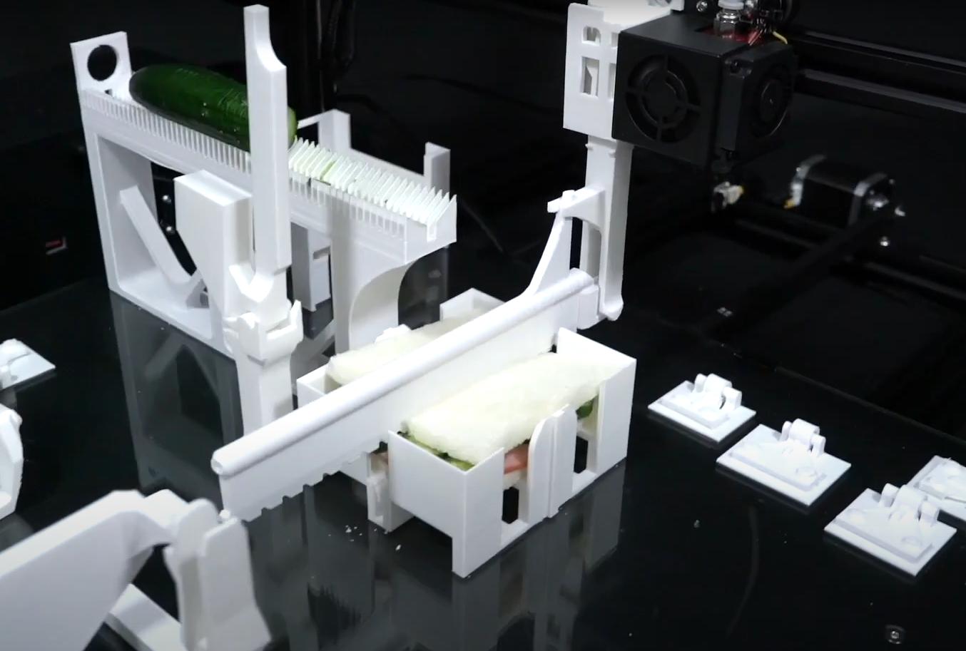 A 3D printer makes a sandwich