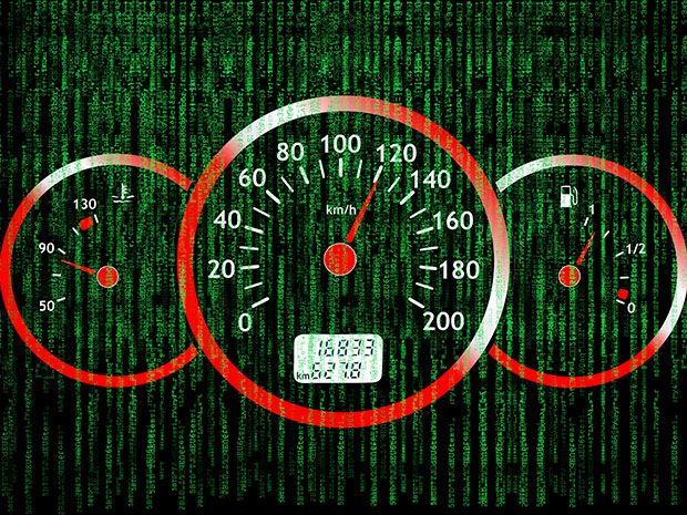 A car's dashboard. Steering, braking, and even speed can be controlled by hackers