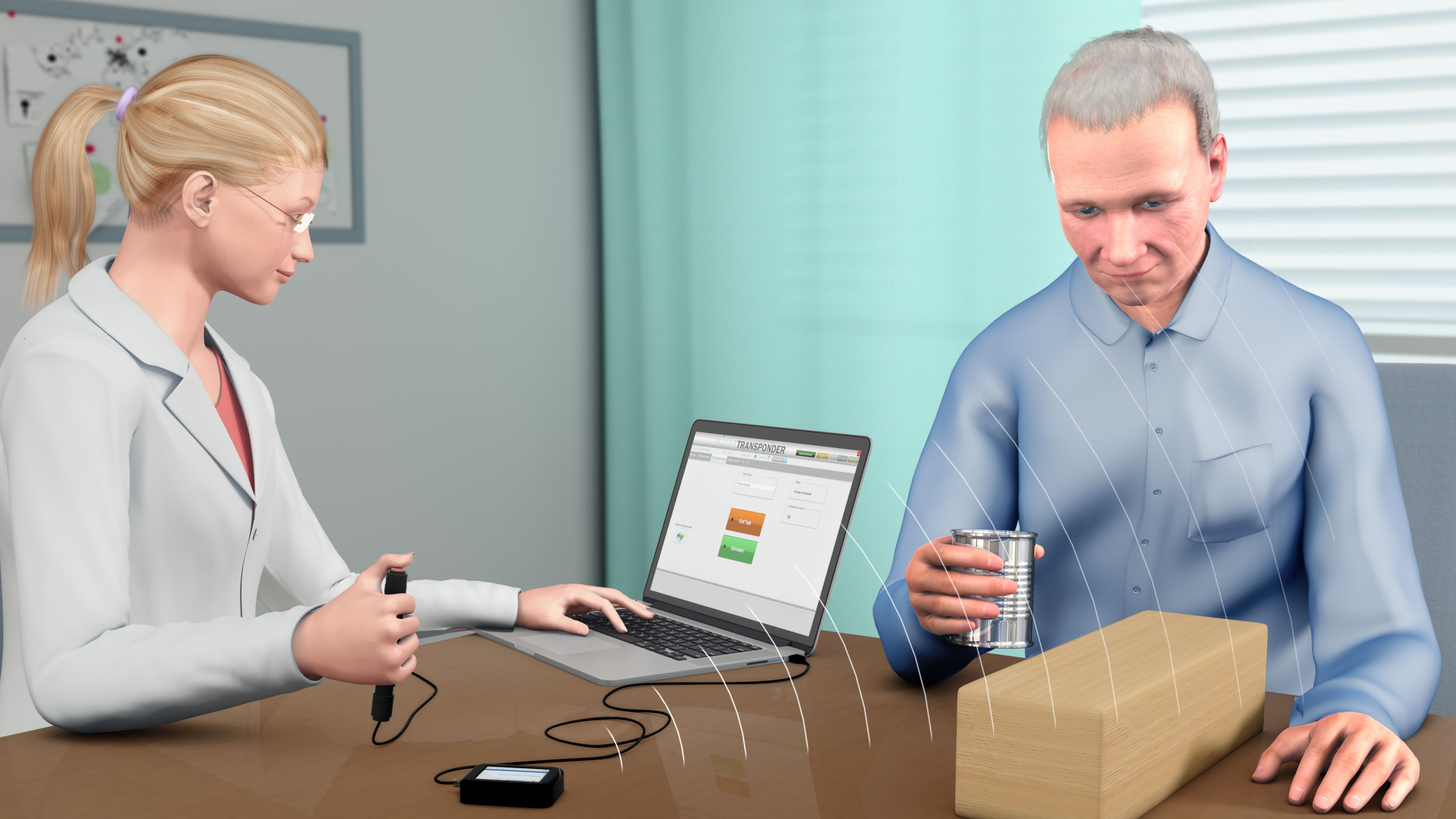 A cartoon of a woman in a lab coat and a man in a blue shirt. The woman is holding a button in one hand and looking at a computer. The man is picking up a glass of water.