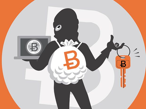A cartoon thief carrying a bag with the Bitcoin symbol on it