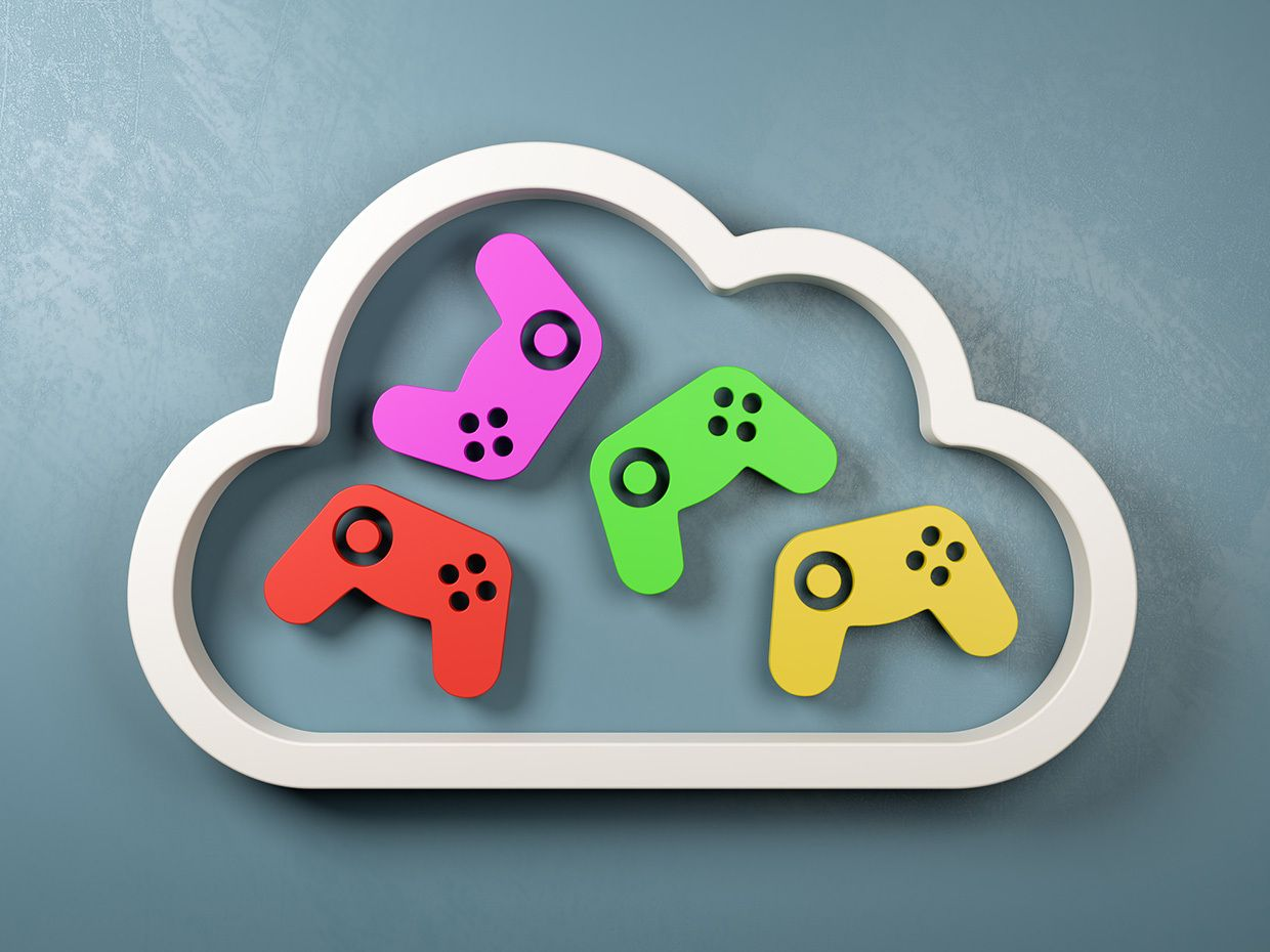 A cloud with game controllers inside.