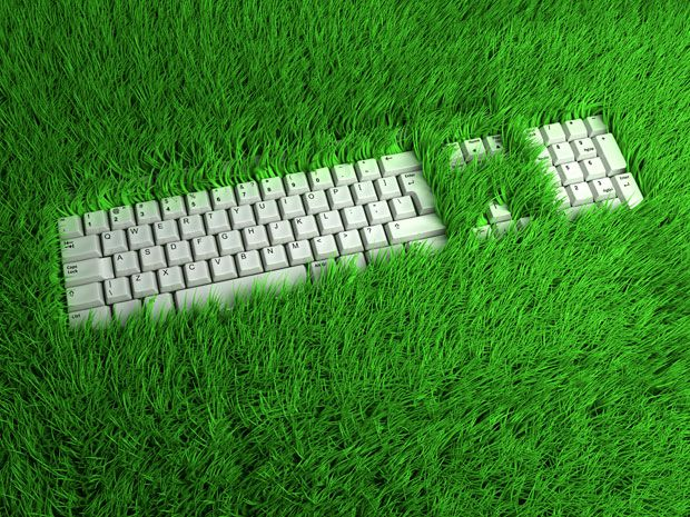 A computer keyboard laying in the grass.