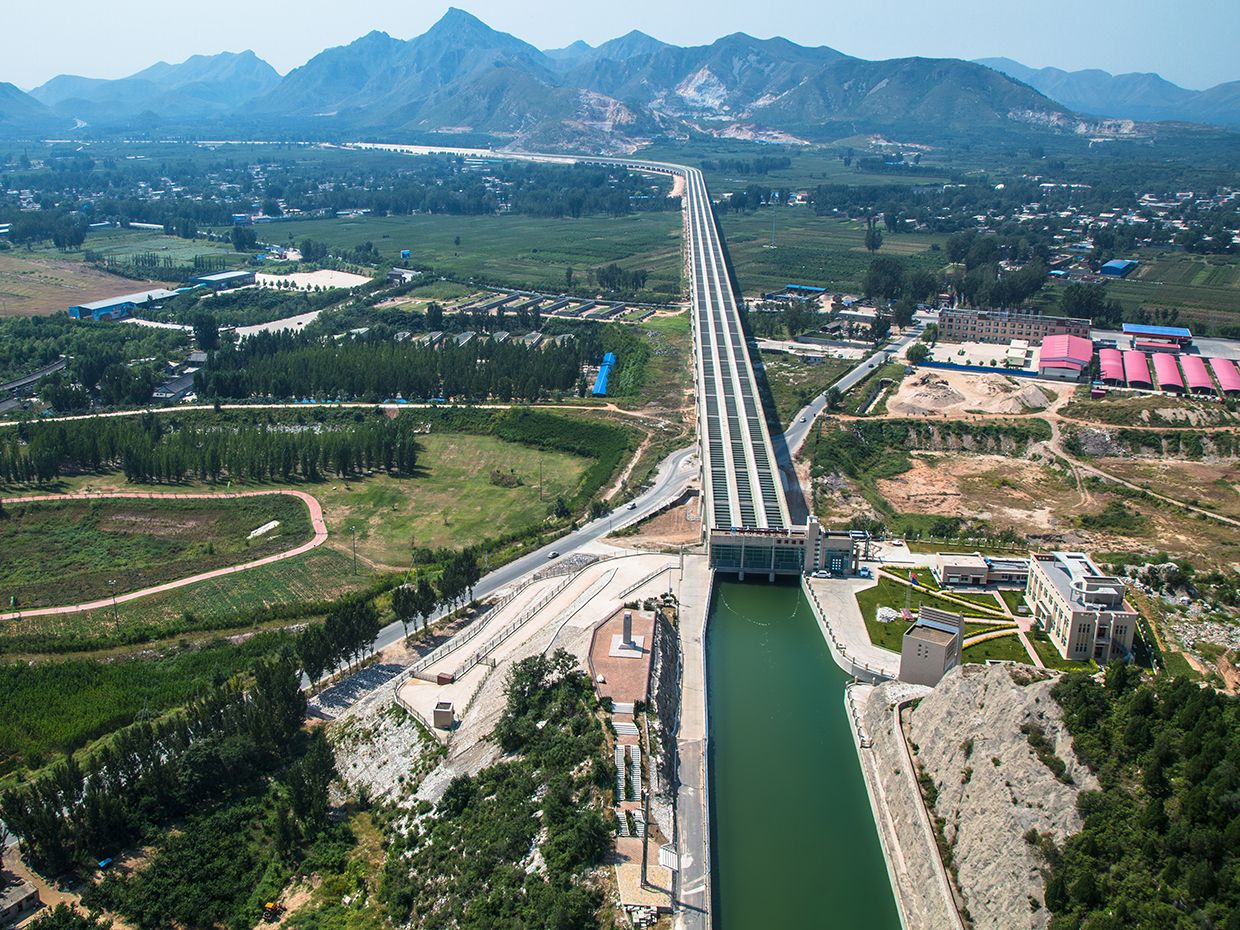 A concrete aqueduct in Mancheng, Hebei Province, China.