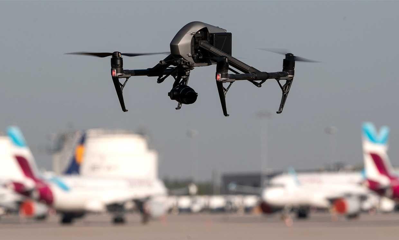 A drone flies near Stuttgart airport.