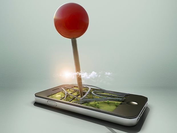 A giant red pin impales a smartphone through the screen. On the screen is a diorama of a highway exit or on ramp system.