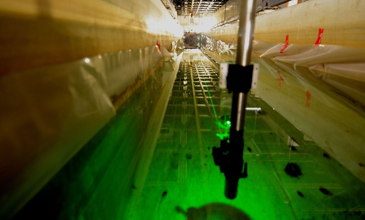 A laser fired underwater at the flume tank in which the experiment was performed.