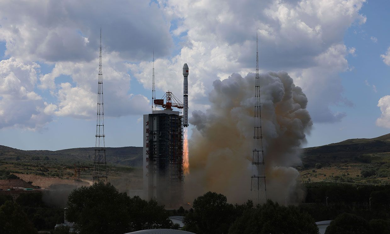 A Long March-4B rocket from the taking off from Taiyuan Satellite Launch Center.