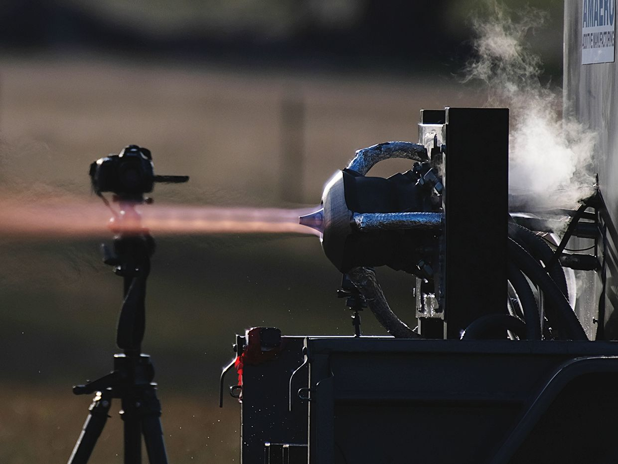 A photo of a small engine undergoing tests