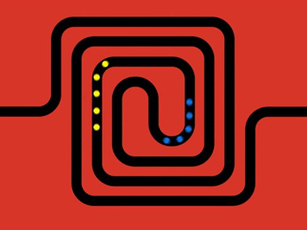 A red and black illustration that shows the pattern of the spiral waveguide designed by researchers to create acoustic memory.