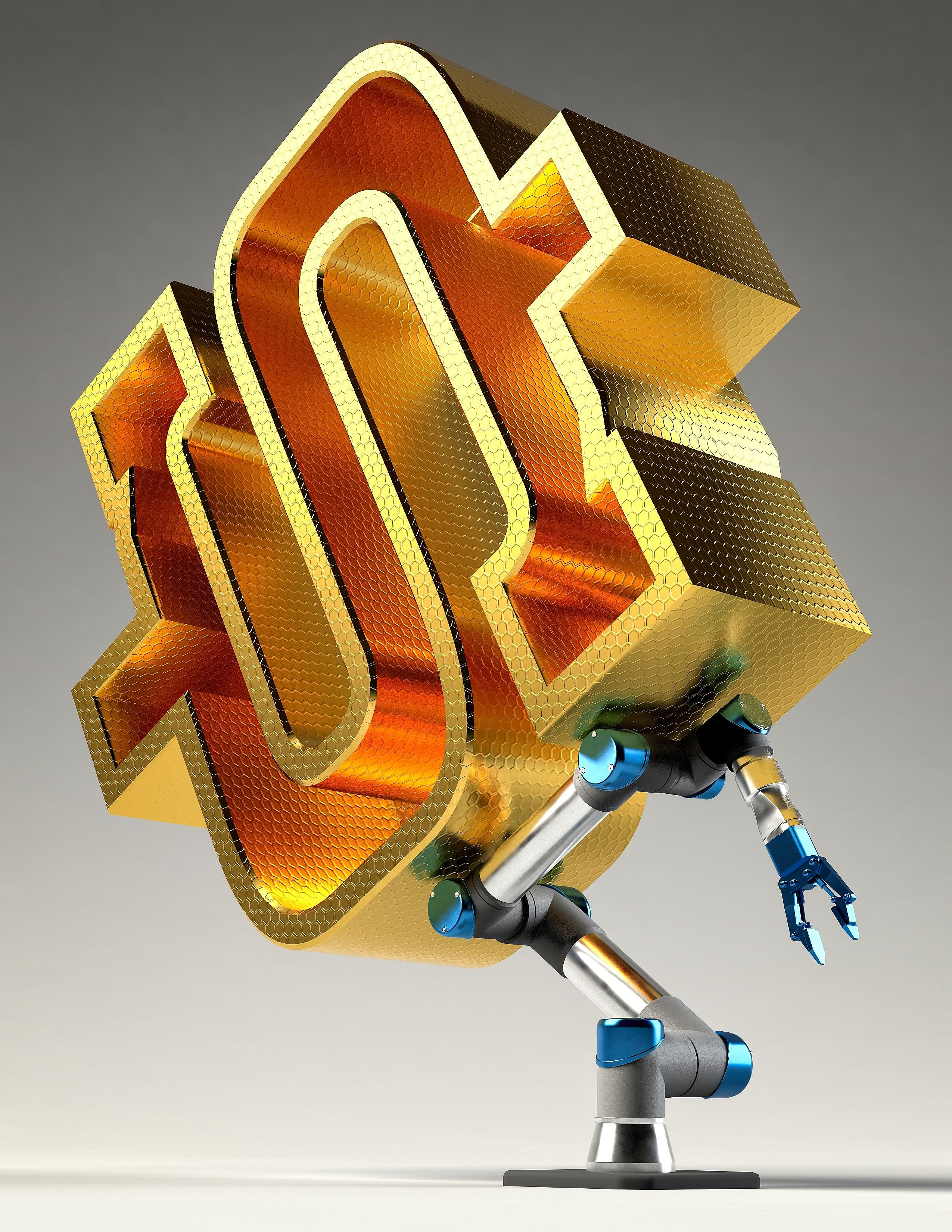 A robot arm being pushed down by a very big dollar icon