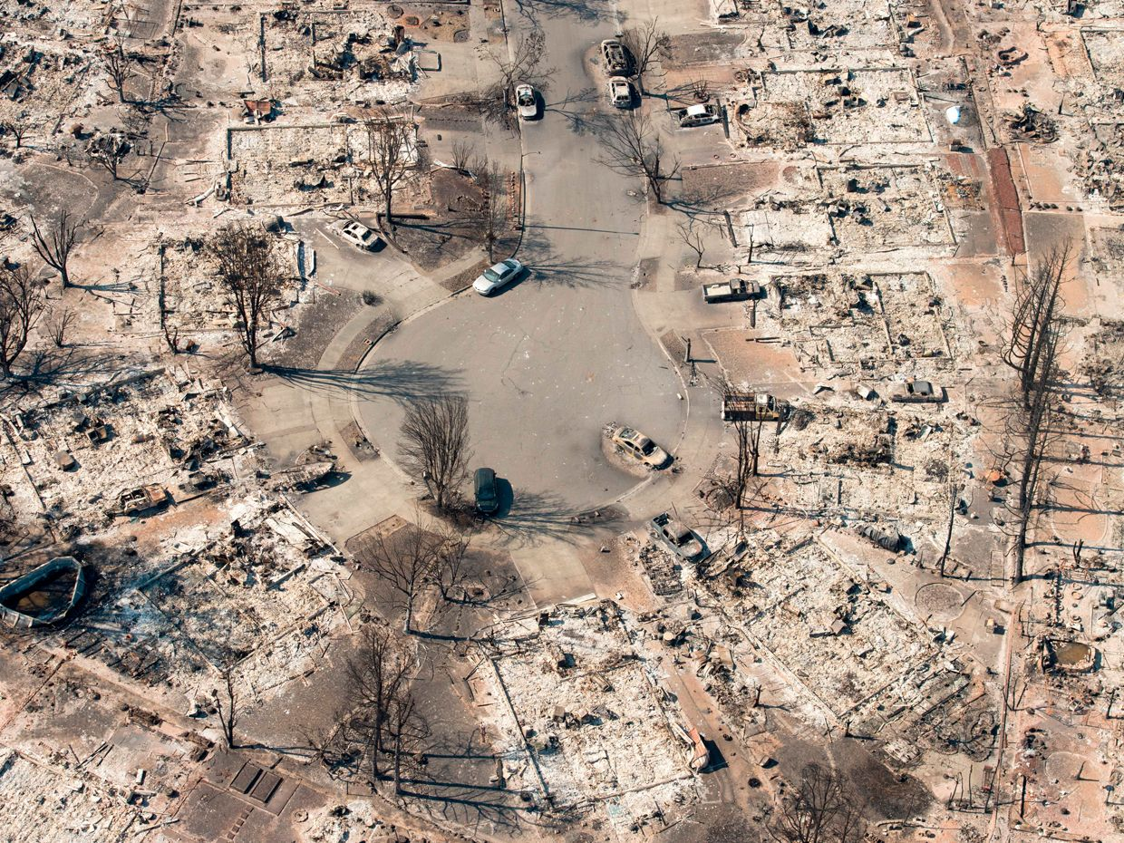 A Santa Rosa community levelled by California's wine country fires in October