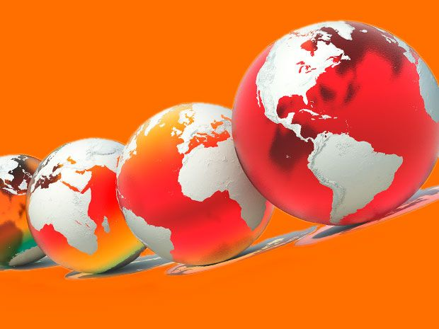 A series of four globes on an orange background. The oceans of each globe are progressively more red