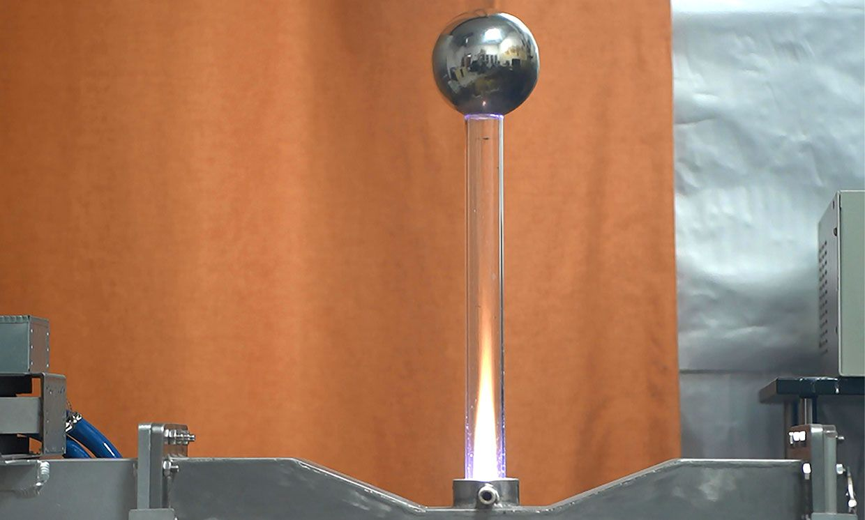 A steel ball can get suspended in the air by the pressure from a plasma jet.