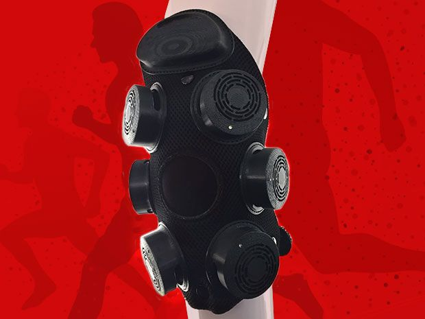 A thermoelectric heating and cooling system to be worn on a person's knee looks like a black knee brace with many circular protrusions