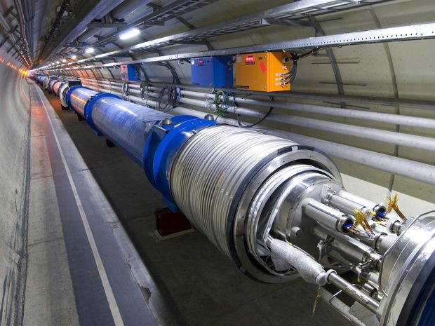 A tube in a tunnel at the Large Hadron Collider.