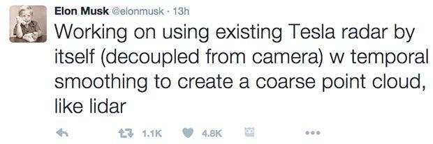 A tweet from Elon Musk about Tesla radar technology
