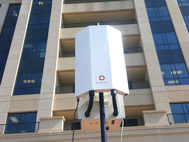A white Phazr base station is shown in front of the Ridgeland, Mississippi headquarters of C Spire during a trial last week.
