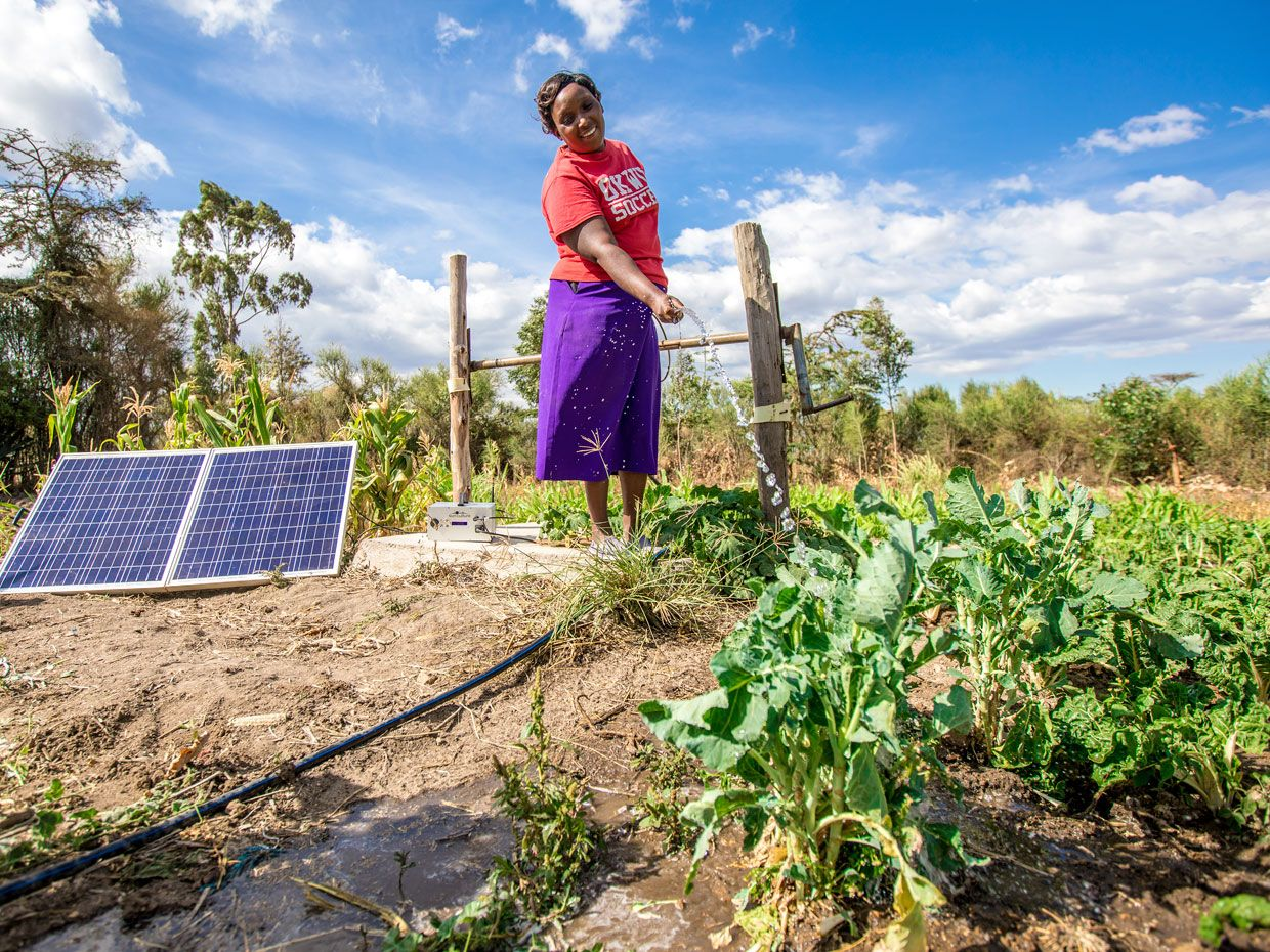 A woman watering plants next to a solar panel.