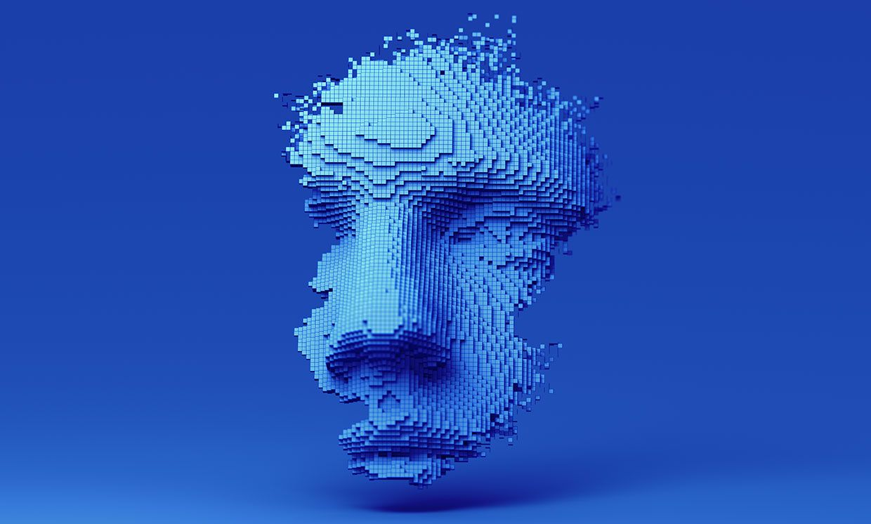 Abstract 3D Rendered Human Face Constructed of Cubes