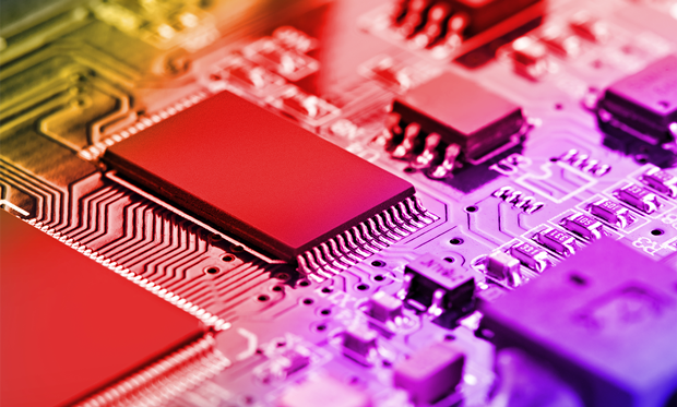 Abstract illustration of brightly colored parts of a microchip