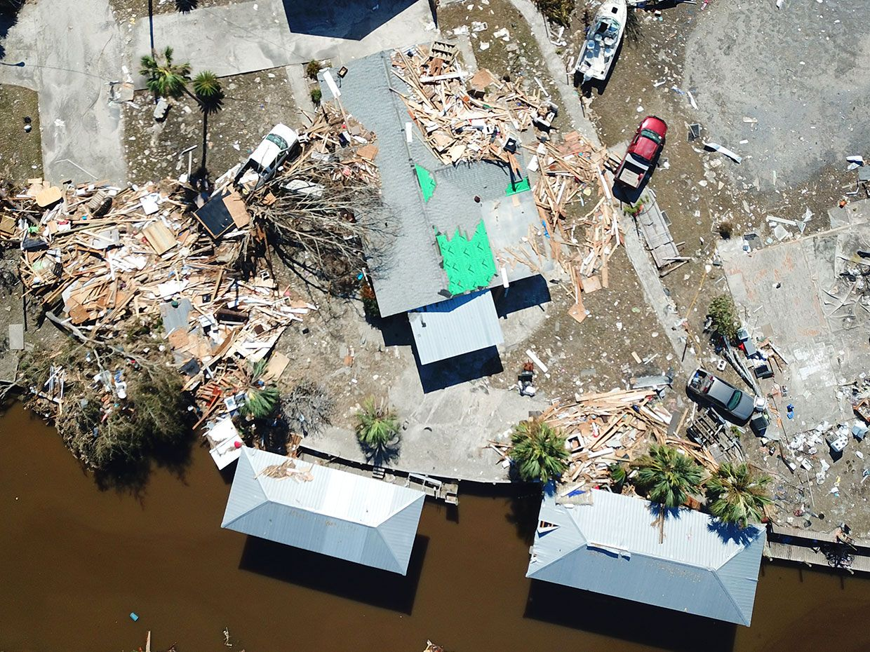 Aerial drone image from the dataset of Mexico Beach, Florida after Hurricane Michael.