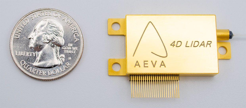 Aeva 4D LIDAR chip next to a quarter for scale