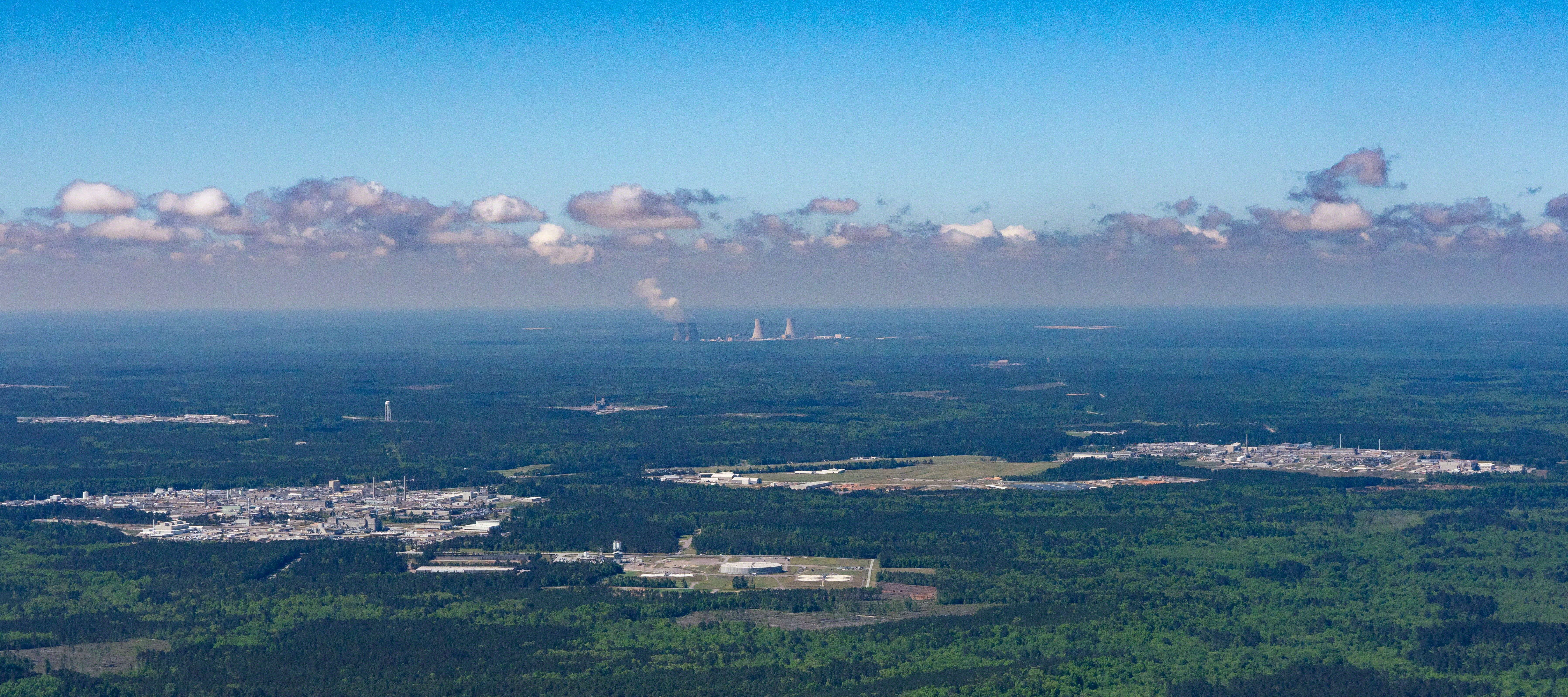 Aiken's Nuclear Neighborhood: The cancelled MOX plant (right), DOE's Savannah River Site (left) and Southern Company's troubled Vogtle nuclear power plant expansion (rear) all sit close by near Aiken, South Carolina.