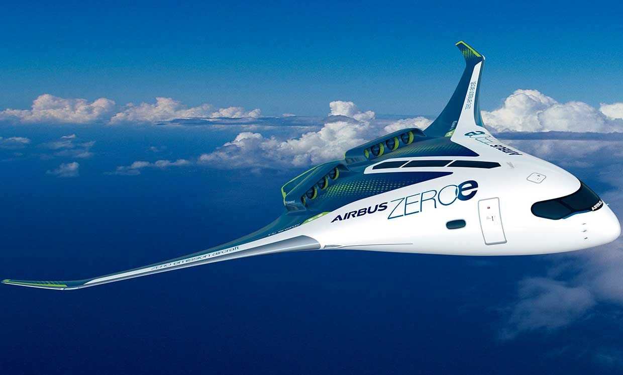 Airbus ZEROe blended-body-wing hydrogen aircraft, in an artist's concept.