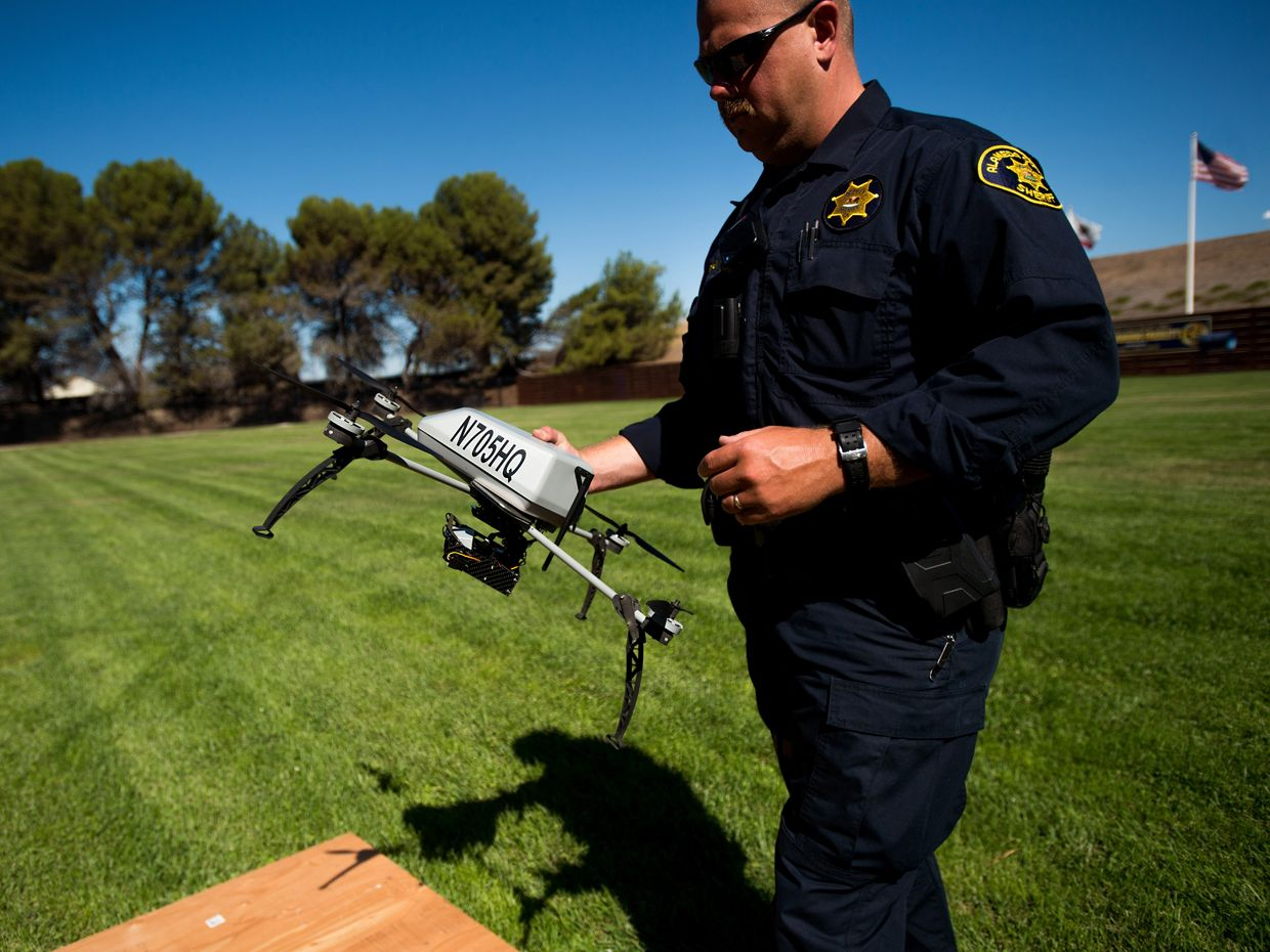 Alameda County Sheriff's Deputy Dave Durbin prepares to fly a drone during a search and rescue demonstration