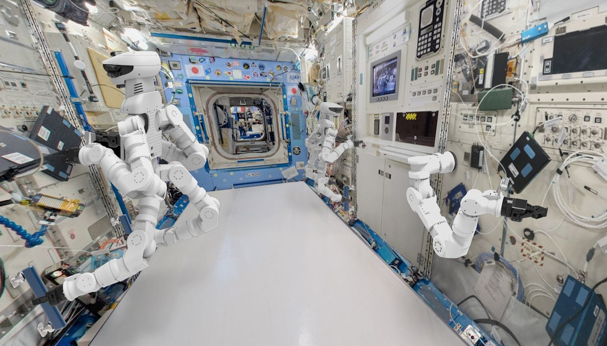 An artist's rendering of how GITAI envisions its future robots working on board the International Space Station.