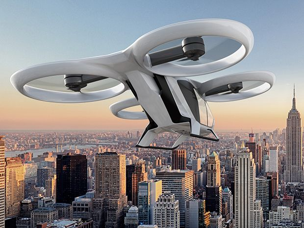 An artist's rendition of a flying car hovering over a city