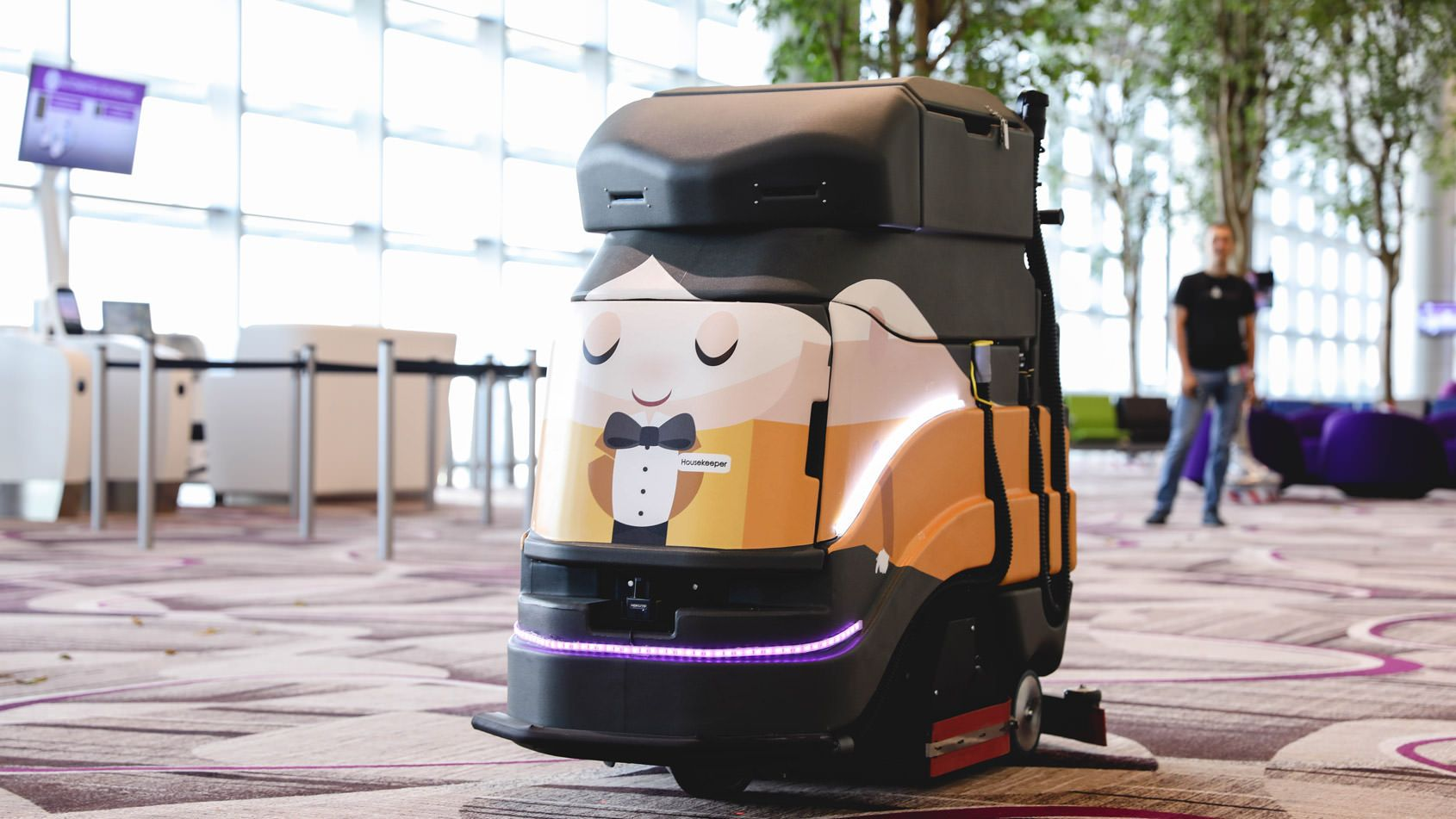 An autonomous floor-cleaning robot by Avidbots at Changi Airport in Singapore.