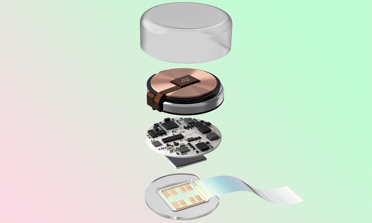 An exploded view of the Neuralink device, showing a layer that attaches to a flexible ribbon, a layer with microchips, and a layer with a copper coil