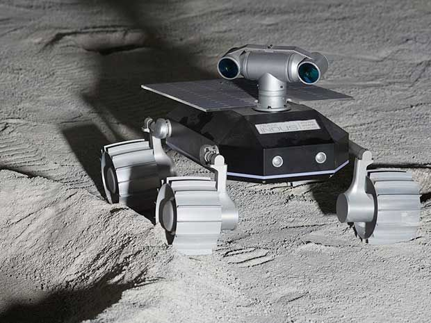An illustration of a small two-camera rover on the moon