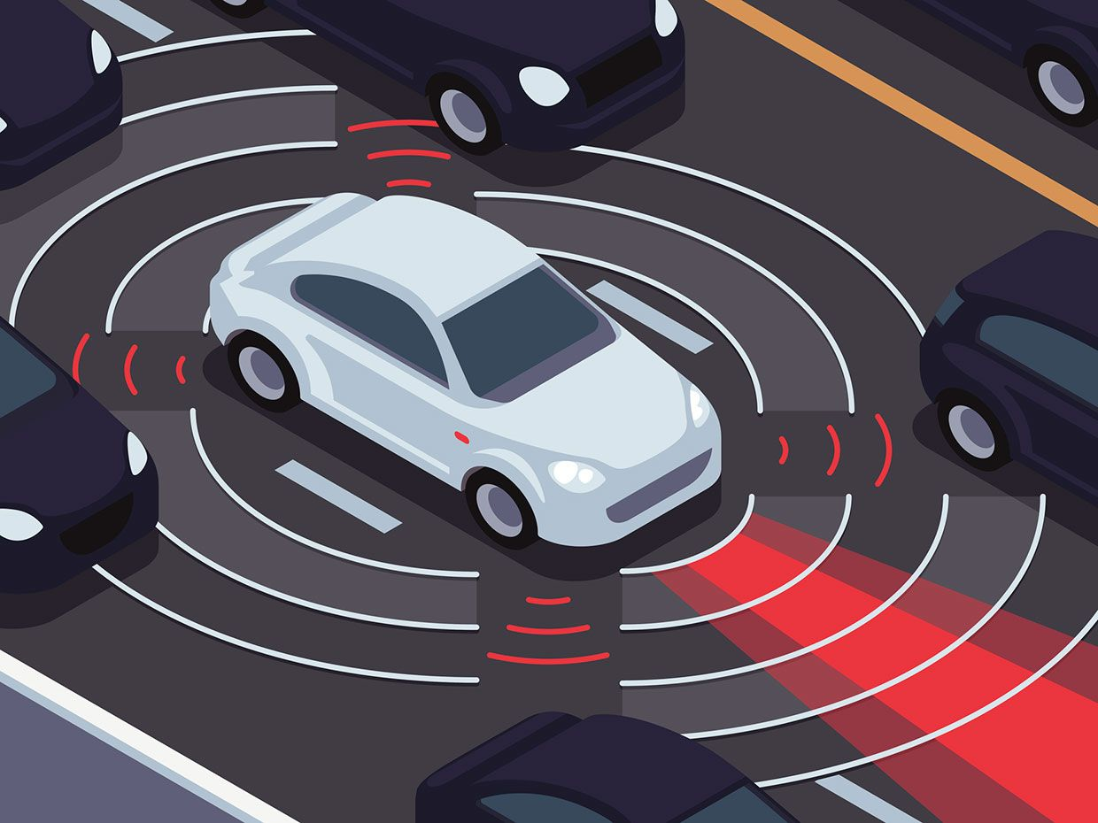 An illustration of a white car surrounded by signals that are directed at other cars.