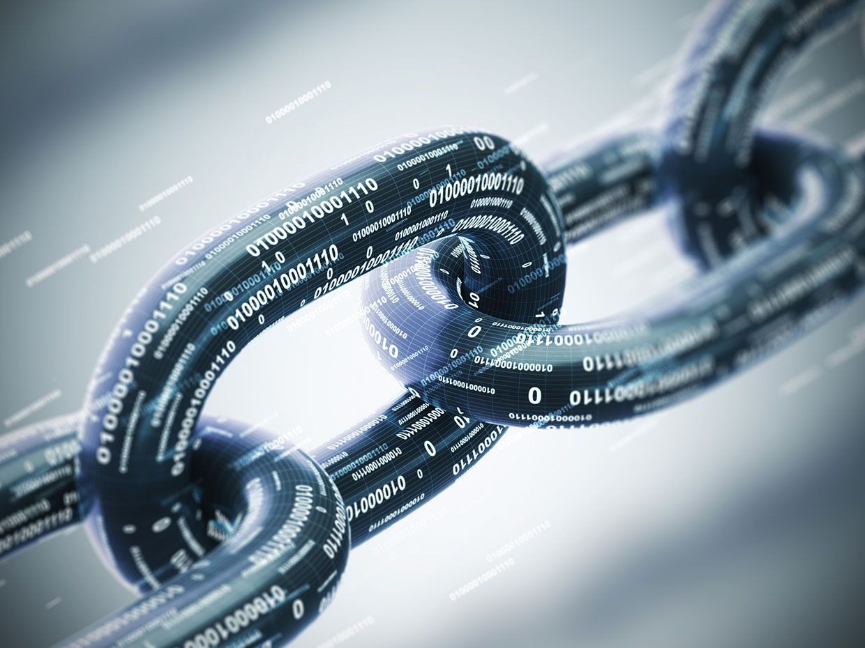 An illustration of links in a chain with binary code on them.