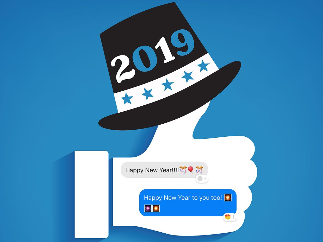 """An illustration shows a conversation in Facebook Messenger overlaid on a giant thumb to symbolize a Facebook """"like."""""""