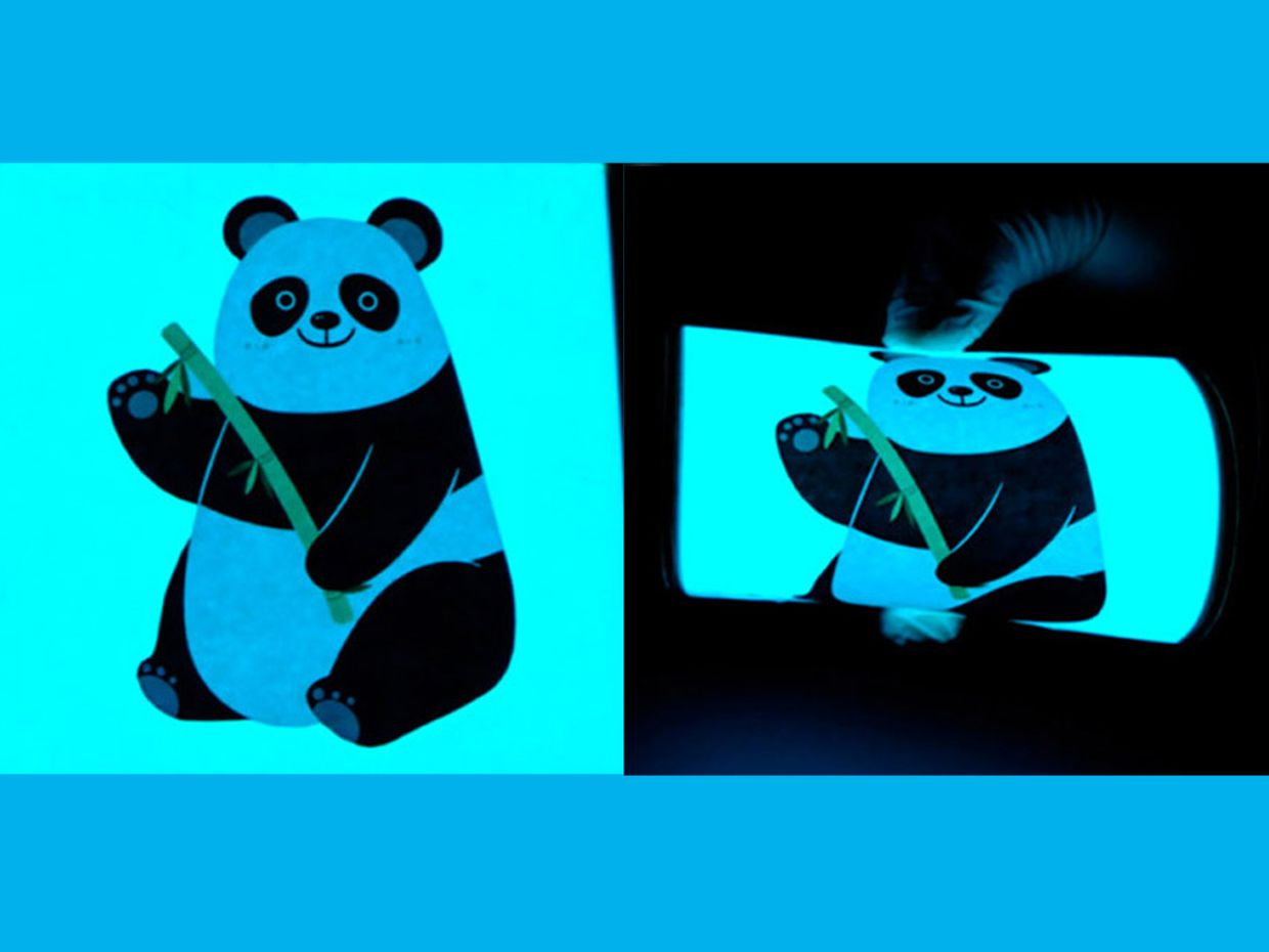 An image of a panda is used to illustrate how flexible, rechargeable yarn batteries can be connected in series to power electroluminescent panel displays.