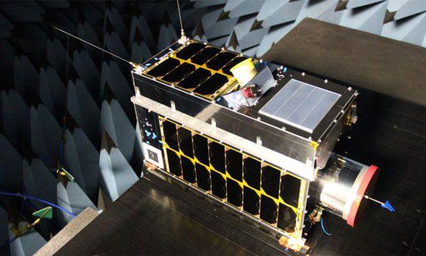 An image of GHGSat's methane-tracking microsatellite.