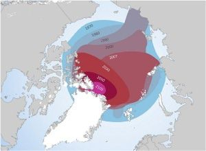 Arctic Ocean ice cap's retreat towards Greenland, 1970-2100