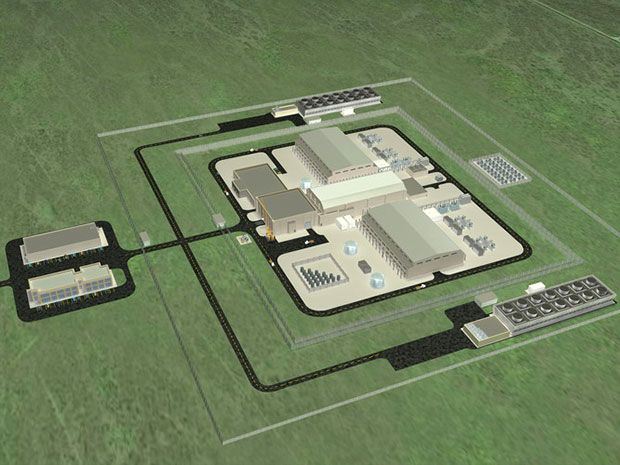 Artist's concept of a NuScale nuclear power facility