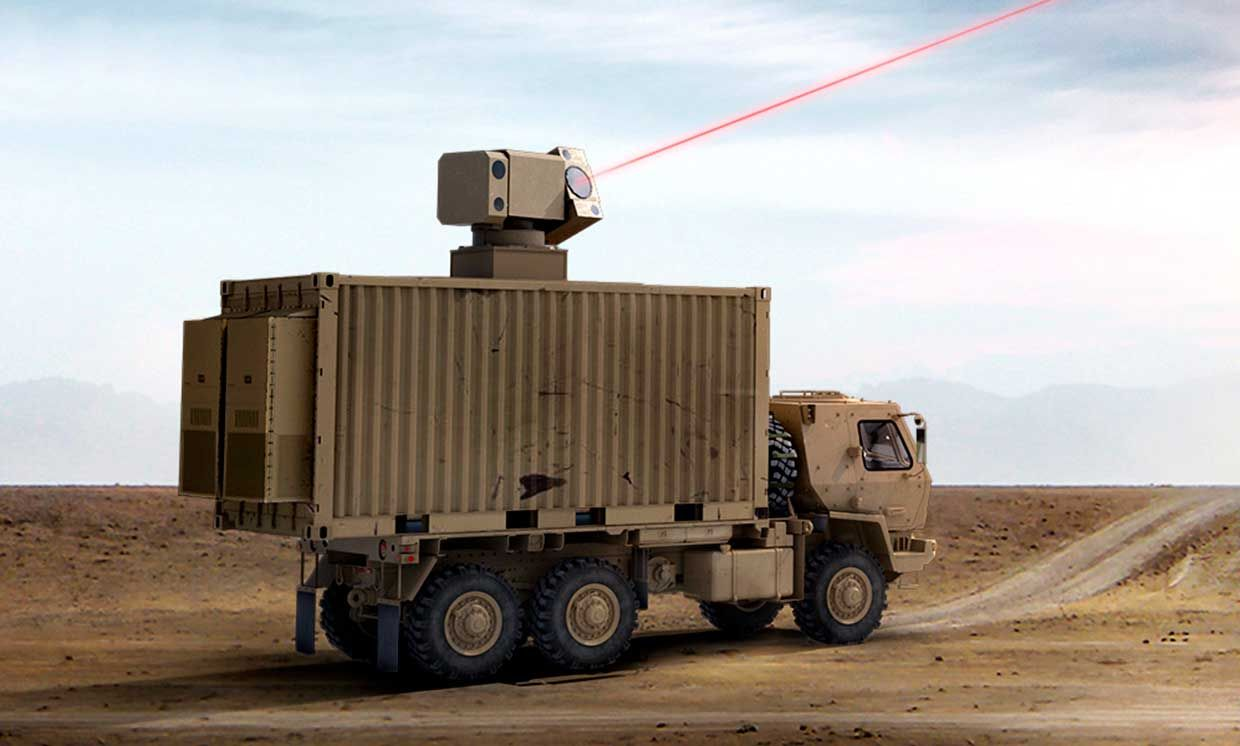 Artist's concept of laser weapon mounted in a truck; a real laser weapon emits an invisible infrared beam.