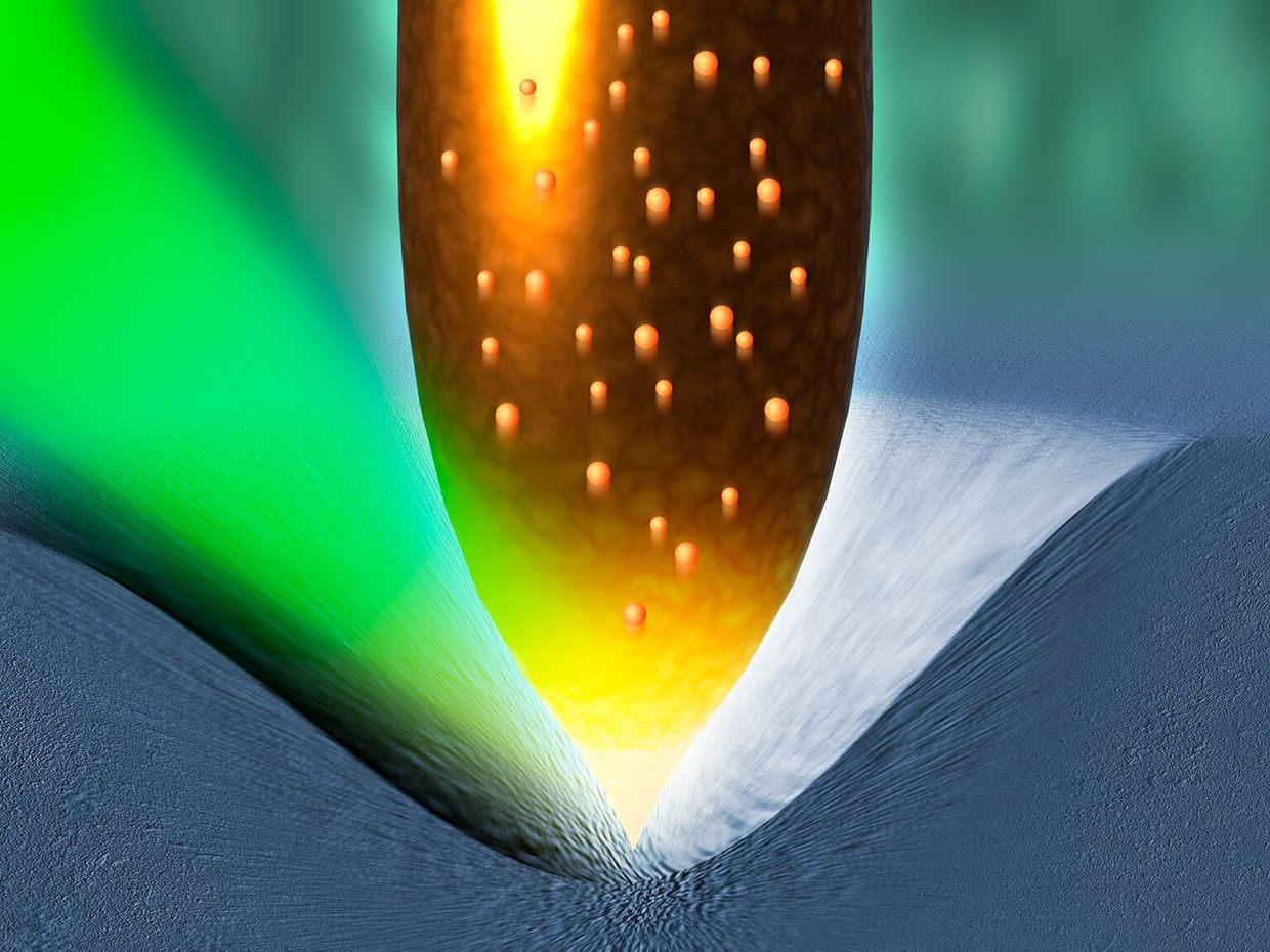 Artist's impression of squeezing more power out of solar cells by physically deforming each of the crystals in the semiconductors used by photovoltaic cells.