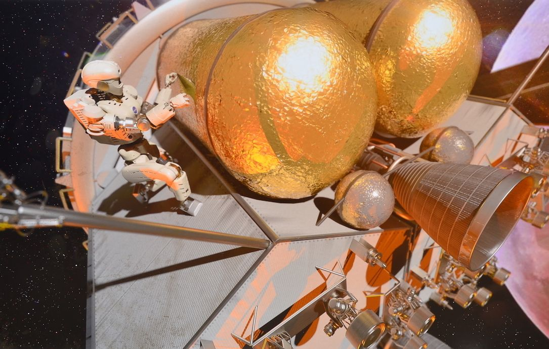 Artist's concept of NASA's Valkyrie humanoid robot working outside Gateway, a proposed space station in lunar orbit.
